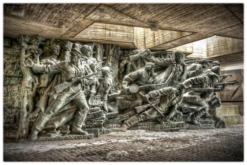 Monument outside the World War II museum, Kyiv, Ukraine - HDR.