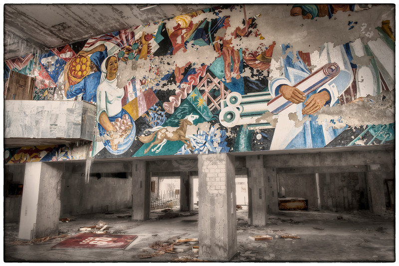 The lobby of the Palace of Culture, Pripyat, Ukraine, inside the 30-kilometer Chernobyl Exclusion Zone - HDR.
