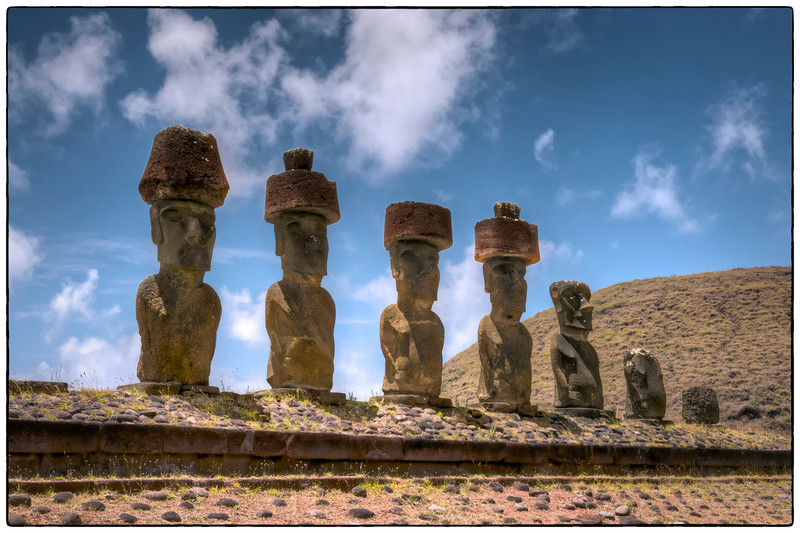 The moais at Anakena, Easter Island (Rapa Nui).