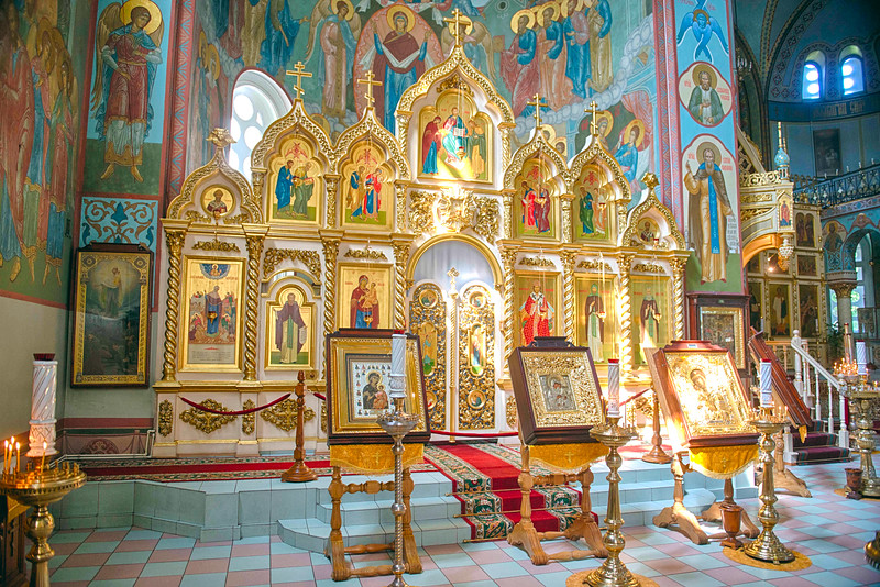 Iconostasis at Riga Nativity of Christ Orthodox Cathedral, Riga, Latvia.