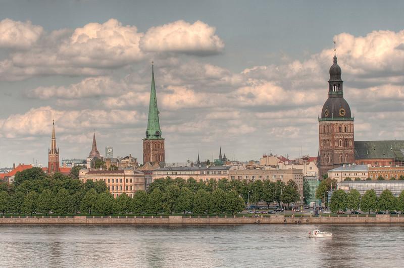 HDR: Riga, Latvia old town and the Daugava River.