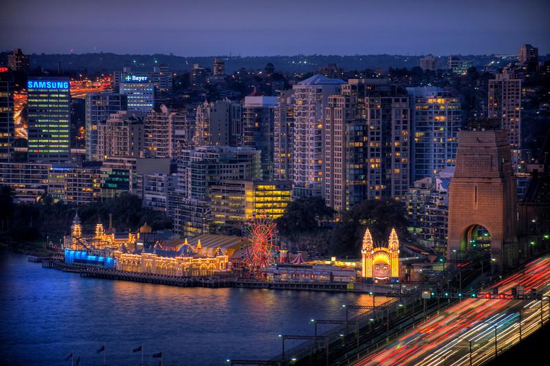 HDR: Luna Park, Sydney, Australia at dusk.