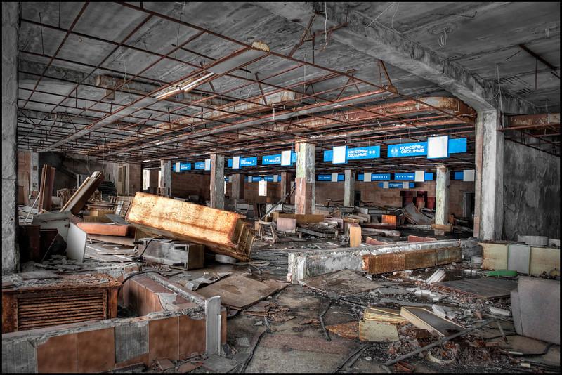 The Supermarket on Lenin Street, on the central square, inside the 30-kilometer Chernobyl Exclusion Zone, Pripyat, Ukraine - HDR.