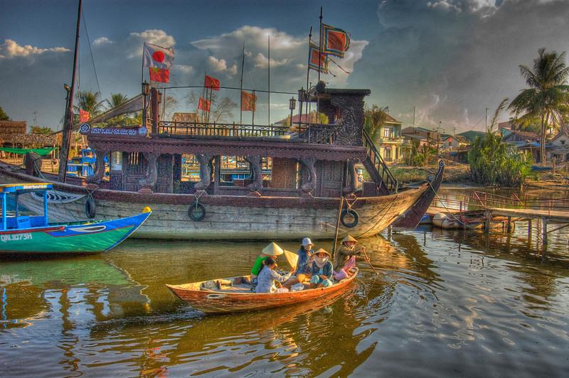 HDR: Boats at Hoi An, Vietnam.