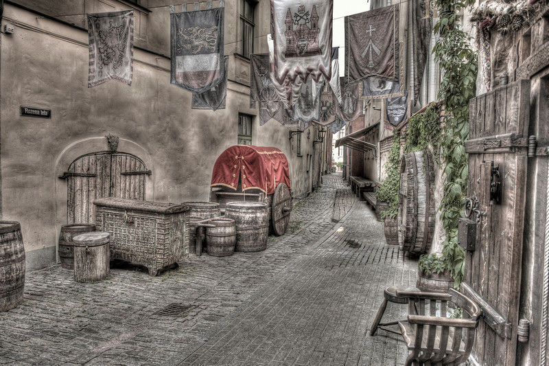 HDR: Alleyway in Old Town Riga, Latvia.