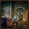 A service in St. Michael's Cathedral, Kyiv, Ukraine in March, 2013, treated as an old oil painting - HDR.