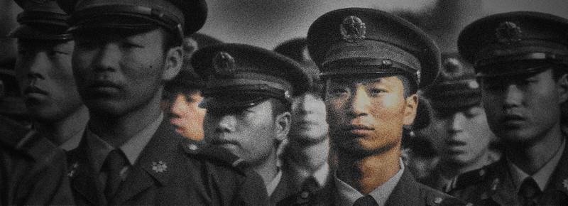 Troops on Main Street, Dali, China - HDR.