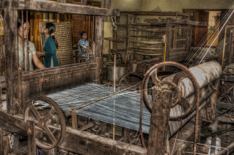 Factory loom and workers, Hoi An, Vietnam - HDR.