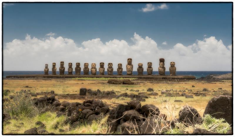 The moais at Tongariki, Easter Island (Rapa Nui).