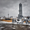 Monument to firefighters who died as a result of battling the flames at Chernobyl reactor number four, Chernobyl, Ukraine - HDR.