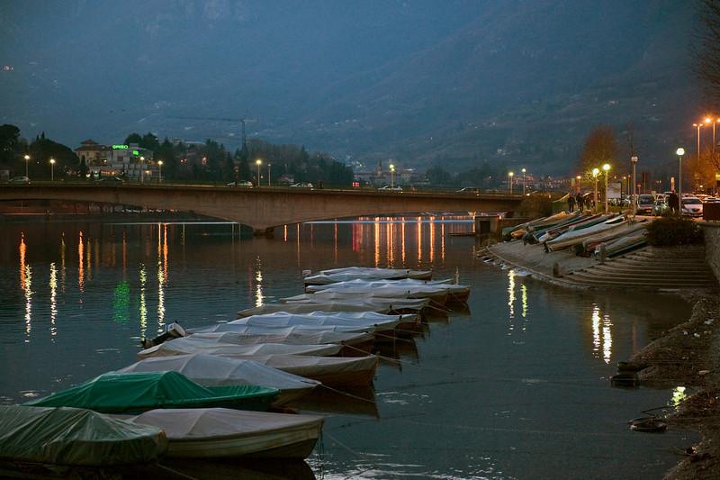 HDR: Lake Como shore at Lecco, Italy in winter.
