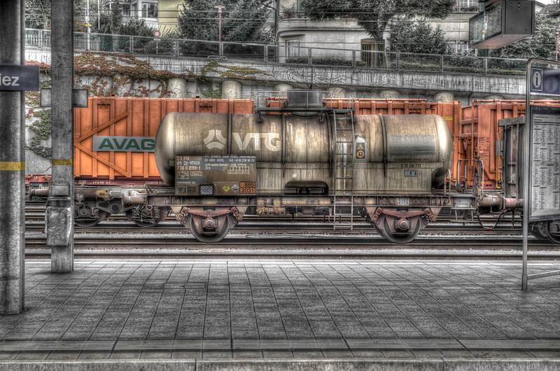 The rail yard at Spiez, Switzerland - HDR.