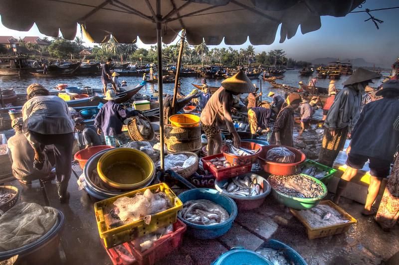 Early morning fish market, Hoi An, Vietnam HDR.