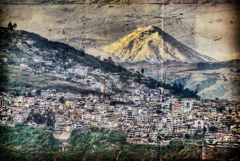 19,347 foot (5897 meter) Mt. Cotopaxi and Quito, Ecuador, textured HDR.