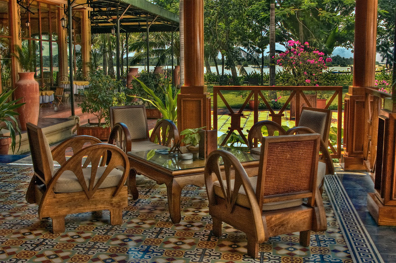 Terrace at the Victoria Hotel, Can Tho, Vietnam - HDR.
