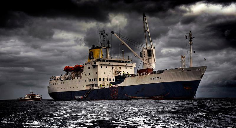 The Royal Mail Ship St. Helena lies at anchor, St. Helena Island, South Atlantic Ocean - HDR.