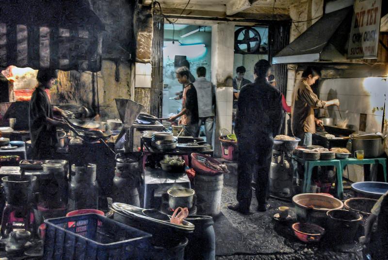 HDR: Street food. One night in old town Hanoi, Vietnam.