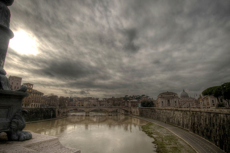 HDR: The Tiber River and the Vatican (dome at right), Rome, Italy.
