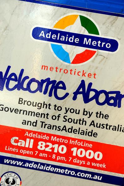 HDR: Sign on Adelaide, Australia bus.