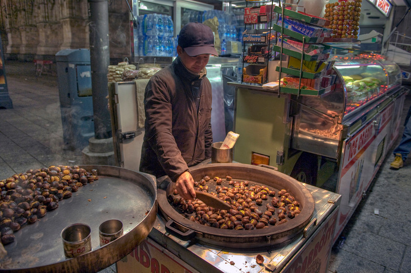 HDR: Selling chestnuts, Milan, Italy.