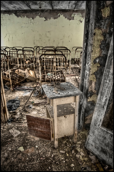 School inside the 30-kilometer Chernobyl Exclusion Zone, Pripyat, Ukraine - HDR.