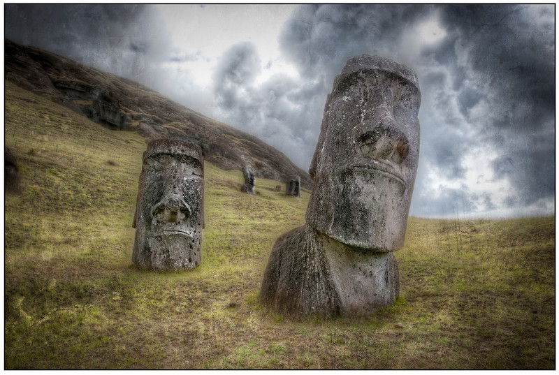Moai at Rano Raraku Quarry, Easter Island (Rapa Nui) - Texturized HDR.