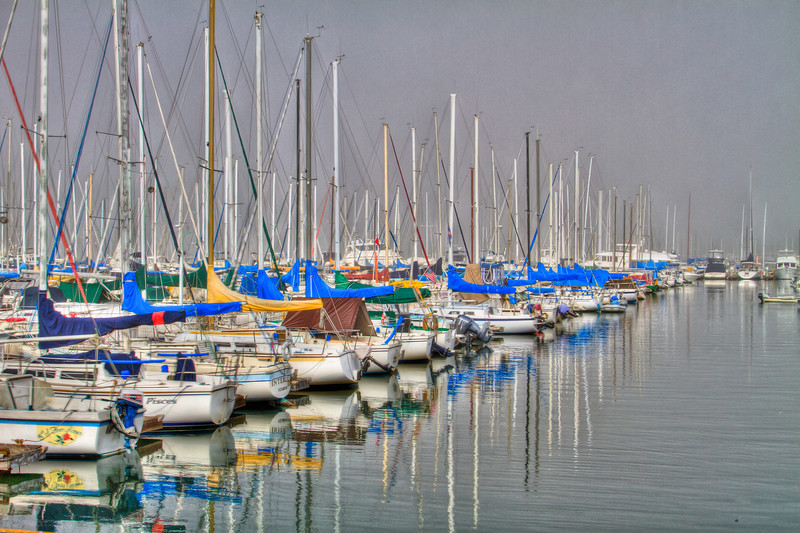 A foggy morning  in Southern California. Made using 4 exposure values. The Marina near Schooner-or-Later restaurant in  the Seal/Long Beach area. You can also see the non-HDR photo in the MySmugMug album.