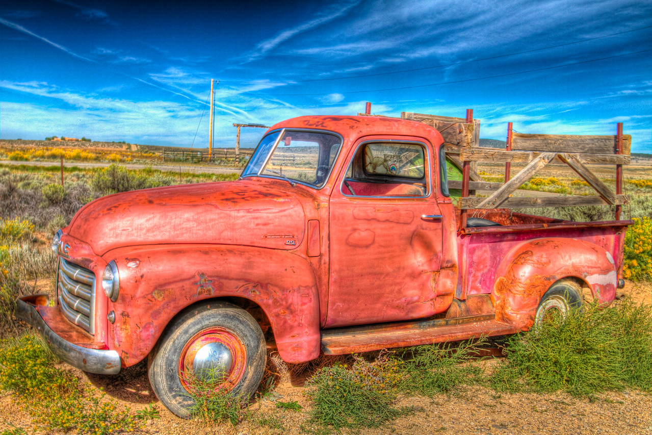a truck appears to be abandoned outside of Taos, New Mexico