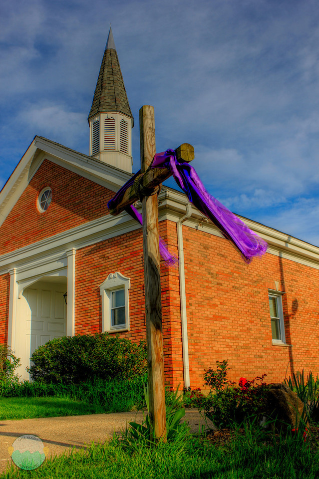 HHBC<br /> From the church I grew up in as a late grade schooler and thru highschool.  Captured their cross they had out on a windy day in Fort Thomas.  The old steeple in rear.
