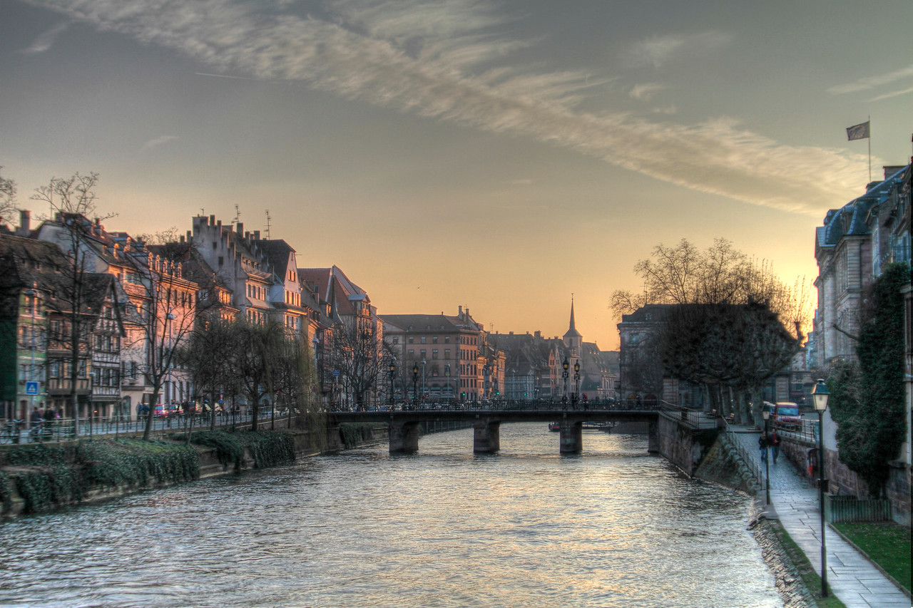 One of the many waterways in and around Strasbourg, France, on a chilly winter day.