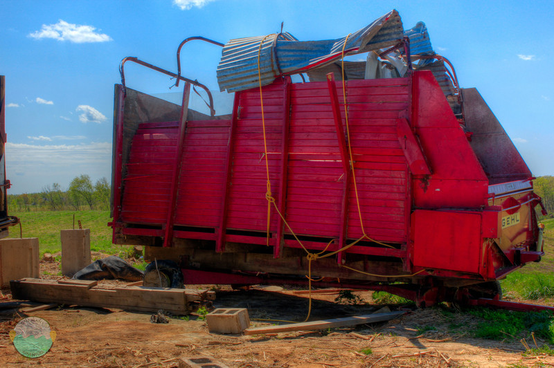 Farm Equipment<br /> A piece of farm equipment from near Peace Grove that was obviously damaged during the tornadic outbreak last month.  I love the bright color that the piece still had.