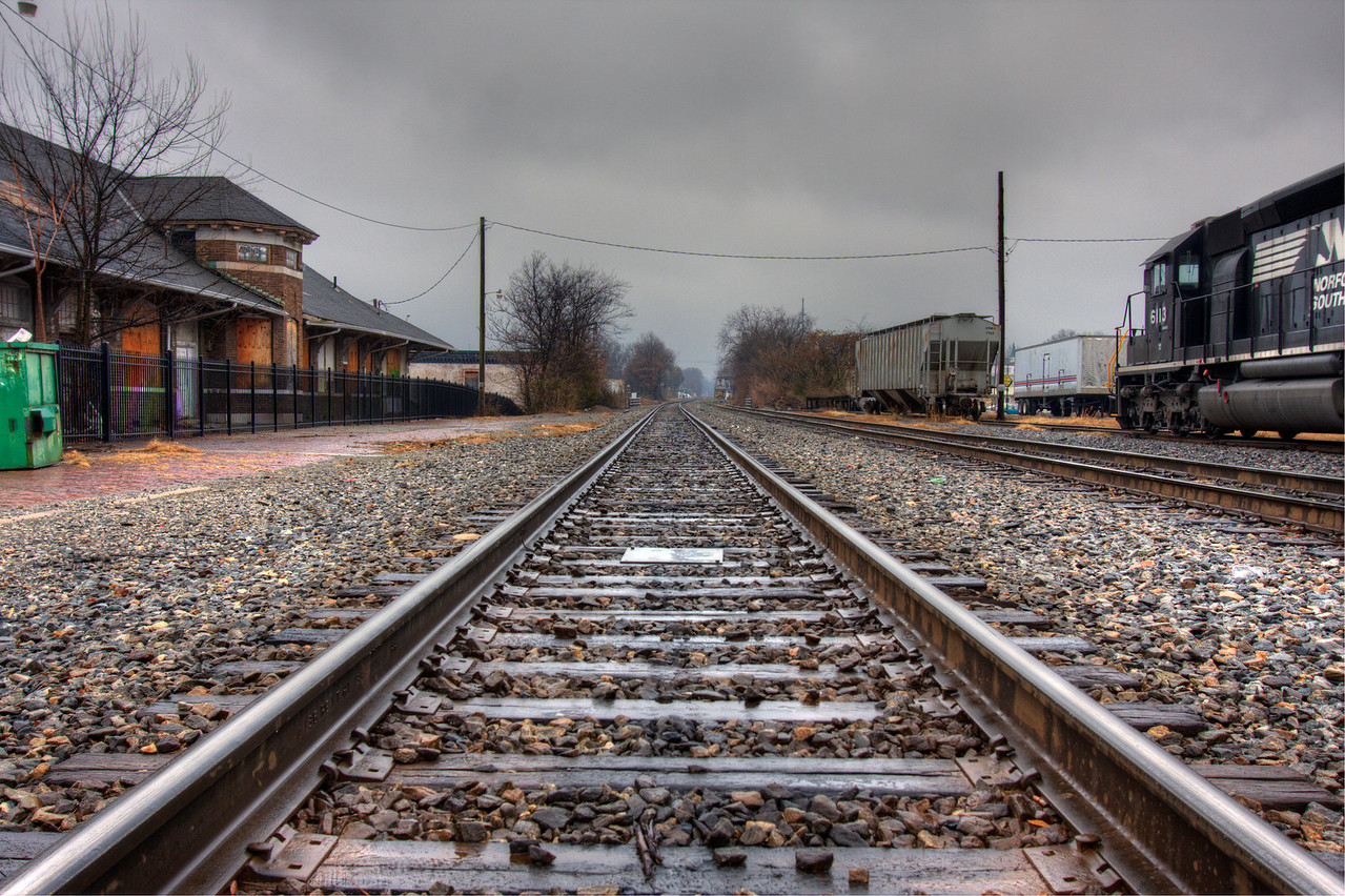 Tracks behind the train station - Cleveland, Tennessee  (HDR using Photomatix software) taken 12/2010.