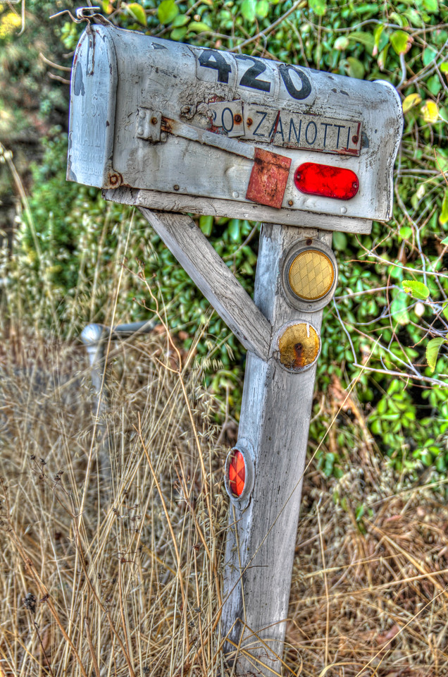 A wealther beaten mailbox near downtown Sonoma, CA.
