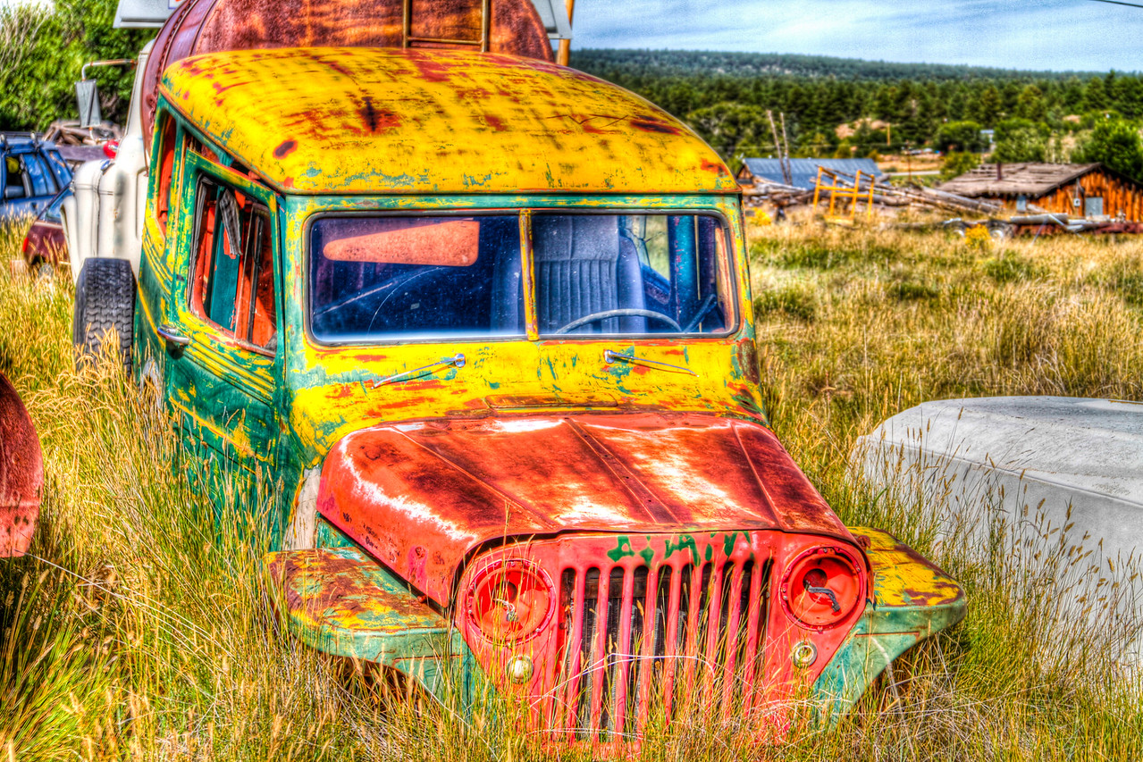 an old truck somewhere near the border of New Mexico and Colordo, unreal paint job...