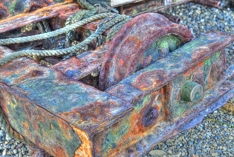 Rusted old boat winch