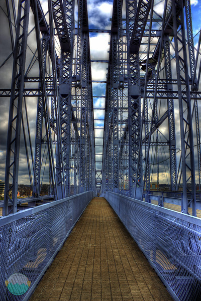 On to Newport<br /> An HDR image of the center walkway on the People Purple Bridge in Cincinnati, Ohio.