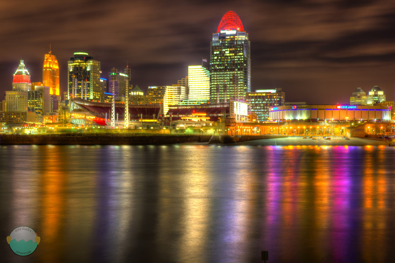 Cincinnati Night HDR<br /> I took a quick 9 frame HDR of Cincinnati while I was out taking some panoramics.  It alright, but as I learned, HDR's at night are not the greatest and hard to get to look good.  I do love the water though.