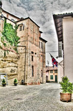 The narrow streets of the ancient village of Castiglione Falletto can be seen in this 9 exposure HDR image. The Cantine Comunale, a place to taste the wines of this localized growing region, is to camera right. Stop by, say hi to Alan Tardi, he's from NY but you'd never know it, his Italian is perfect. Very interesting fellow.