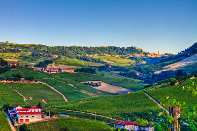 Bussia vineyards on the left and Monforte d'Alba on the right, rear of the image. 3 exposure HDR taken as the sun was setting on a very clear (read: very rare) evening.