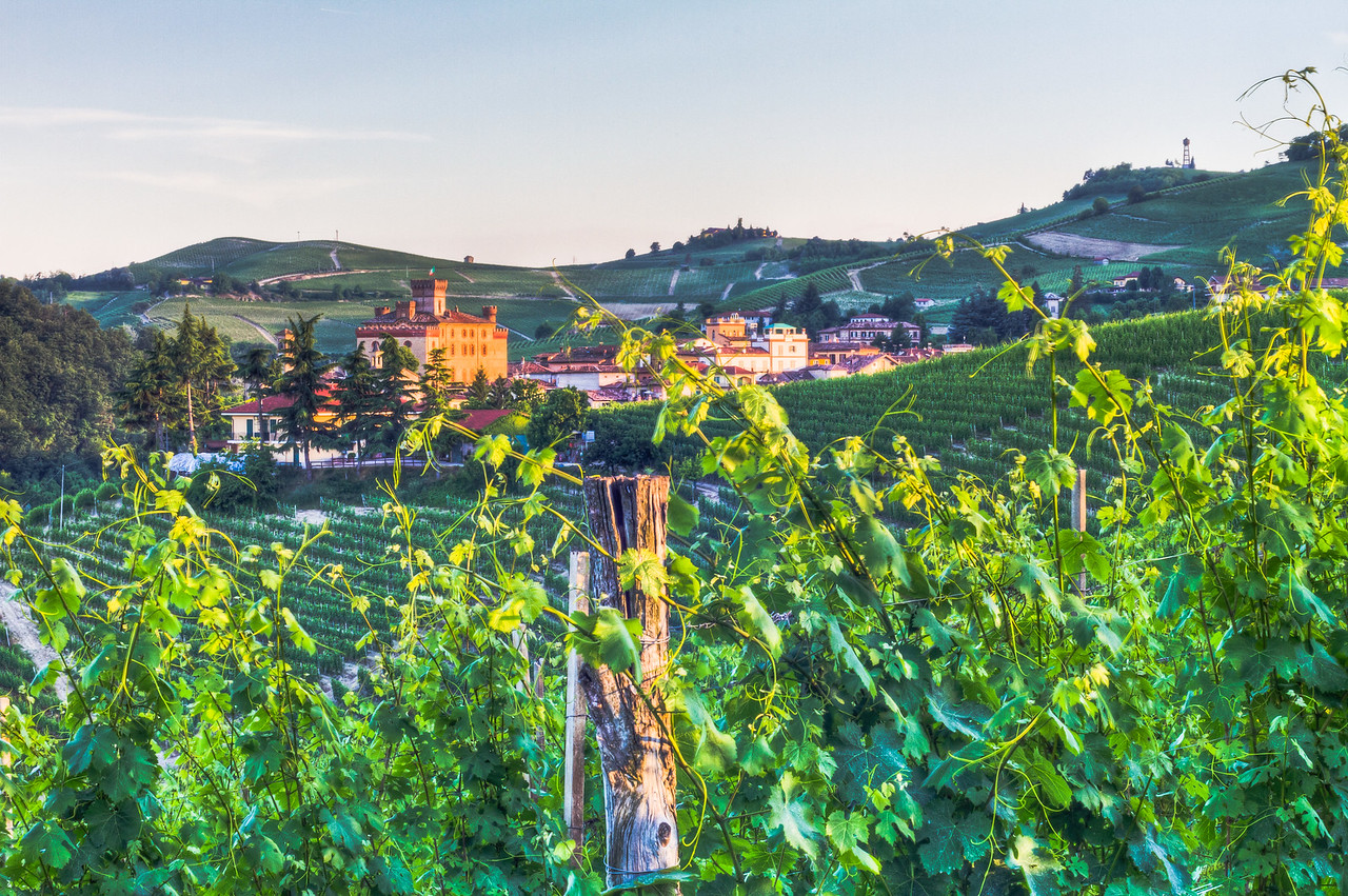 Sunset falls on the small village of Barolo. 3 exposure HDR taken from vineyards near Brunate.