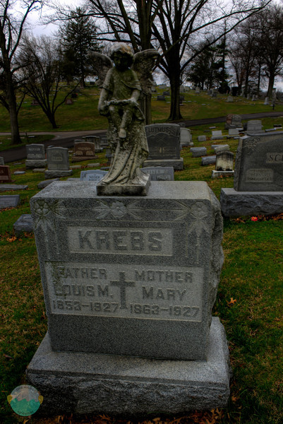 Krebs<br /> Quickly took this HDR as they kicked my out of the cemetery.  5 o'clock close time. Really?!?!?  I liked the angel and left this HDR real looking and didn't blow it out.