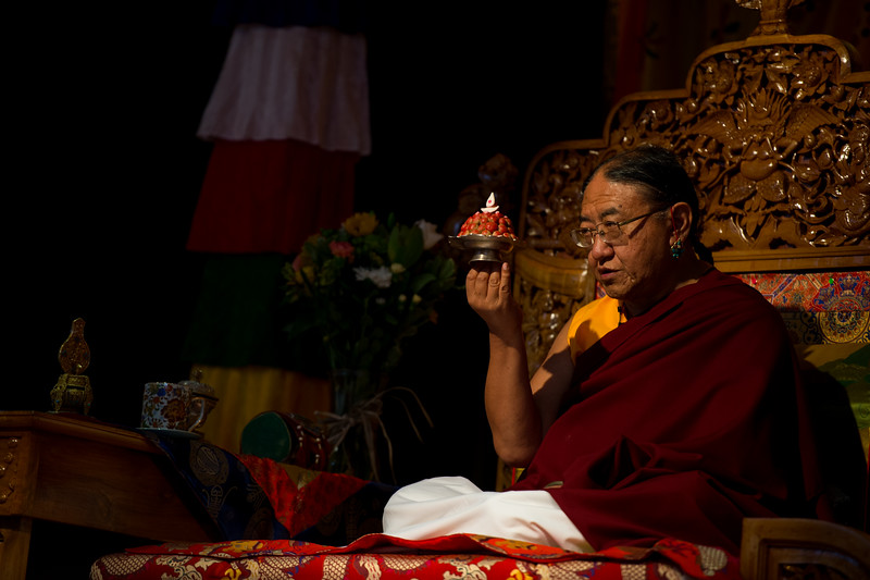 HH Sakya Trizin with the long life pills or tse-ril