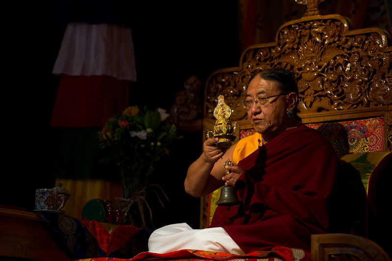 HH Sakya Trizin with the long life vase or tse-bum