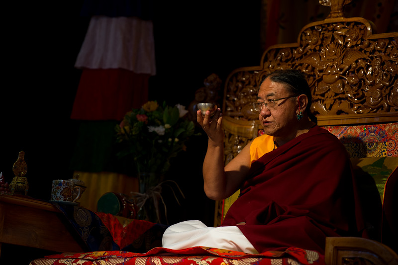 HH Sakya Trizin with the long life liquor or tse-chang