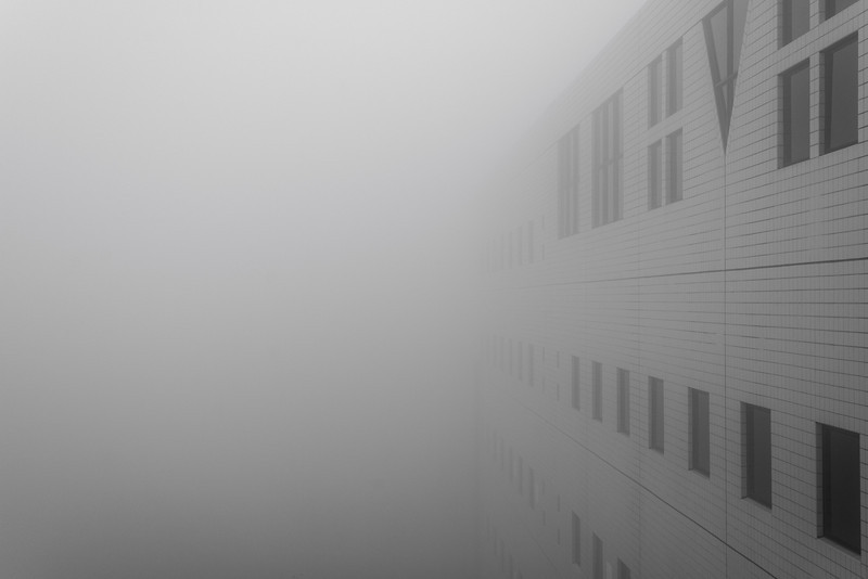 Mist covering the outside wall of Cheng Yu Tung Building under construction, Mar 2014. It is common that having mist on campus. The visibility can be very low.
