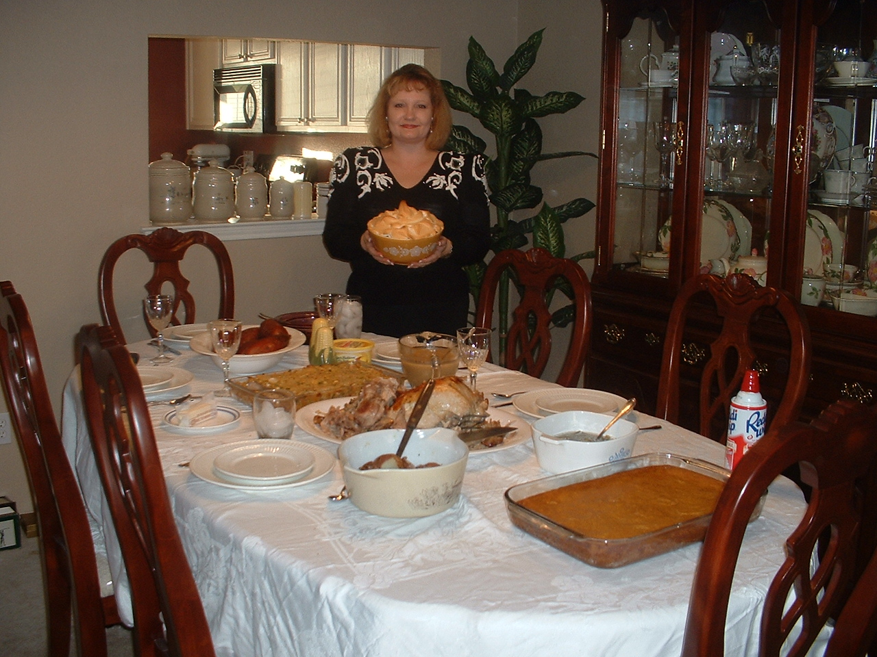 my dining room in Magnum house - my homemade Thanksgiving Feast 2004