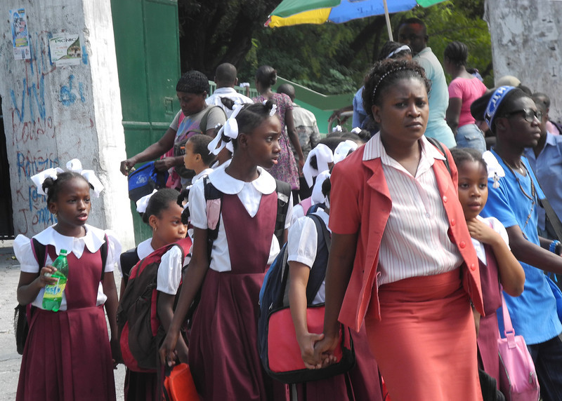 Primary schoolgirls are recognised by the ribbons in their hair