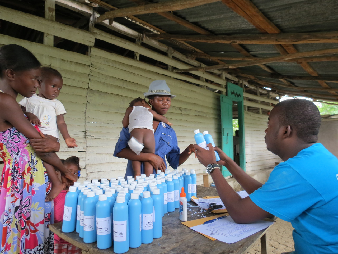 Our bleach being distributed at a pop-up clinic.  Nice to see that something works at some time, once at least.