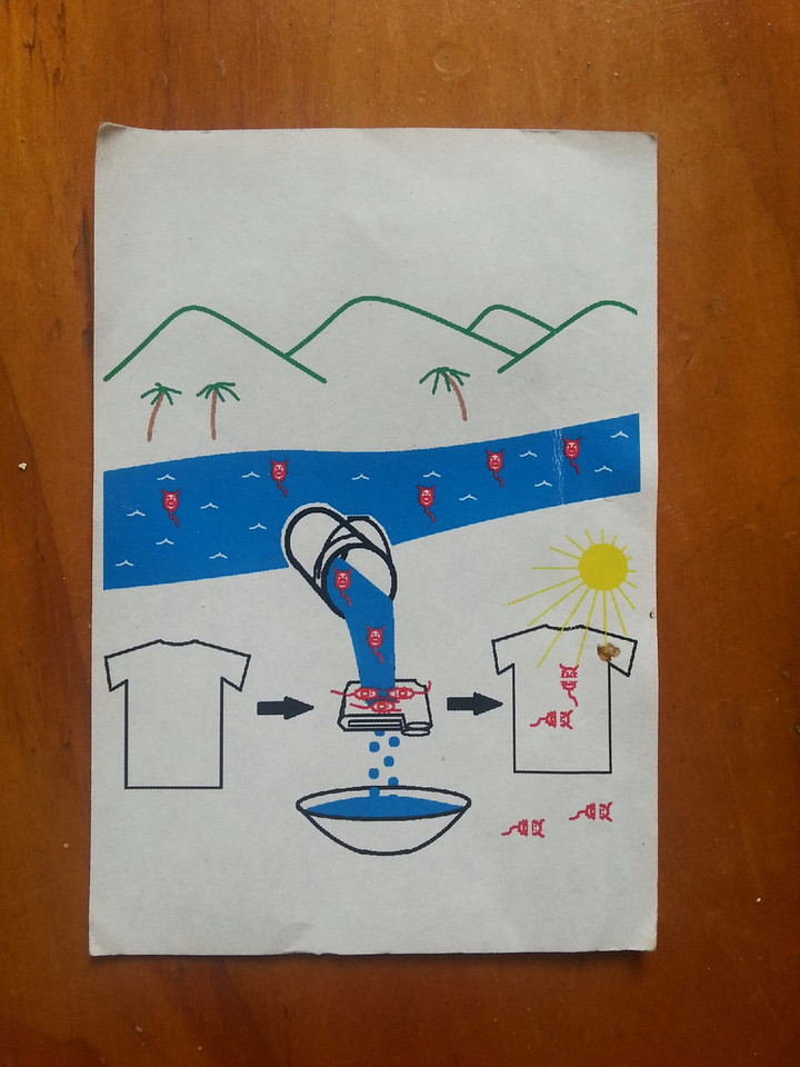 What a great survival instruction!  There is water in the blue river, with red evil bugs in the river.  Take your t-shirt, pour river water though it into a bowl, the evil bugs stick in the t-shirt, and bowl has no bugs. Think about this -you can drink your tap water without ever even thinking about it.