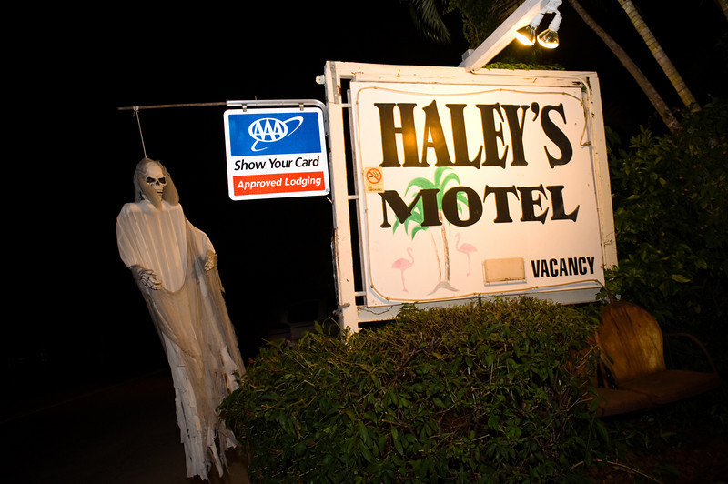 "photos by Dara Caudill  <a href=""http://www.IslandPhotography.org"">http://www.IslandPhotography.org</a>  Haley's Motel owners Sabine Musil-Buehler, and Tom Buehler hosted their 2nd annual ""Haleyween"", featuring a Haunted Garden.   <a href=""http://www.HaleysMotel.com"">http://www.HaleysMotel.com</a>  To entertain younger visitors, Joan Carter from J&J Graphics  <a href=""http://www.JNJGraphics.com"">http://www.JNJGraphics.com</a>  played the scary witch, and Olga Martinez played the investigative reporter.  The Anna Maria Island Privateers  <a href=""http://www.AMIPrivateers.org"">http://www.AMIPrivateers.org</a> , along with many other volunteers, dressed as pirates & goblins to scare those old & brave enough to enter the Haunted Garden!"